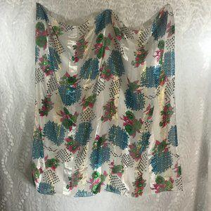 Vintage Scarf Floral Basket Weave Gold Lame
